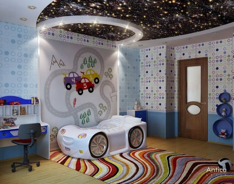 Cool Bedroom Ceiling Interior Design With Outer Space Theme For Childrens Bedroom Decorating Ideas 800x628 Jpg800x628 144 Kb